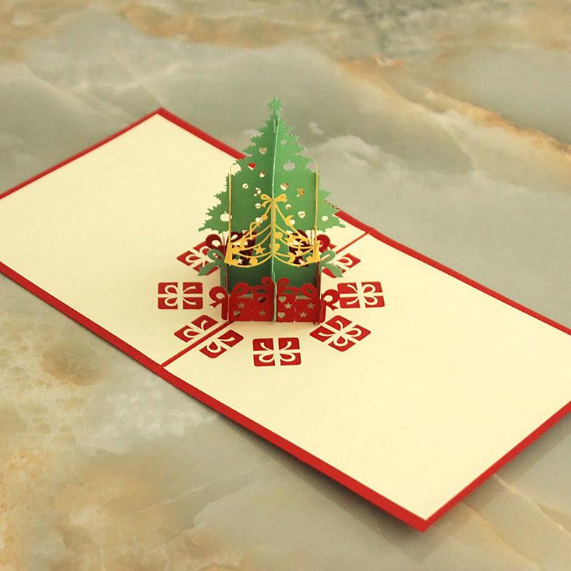 Fashion Holiday Decoration 3D Christmas Tree Shape Christmas Day Thanksgiving Greeting Cards(China (Mainland))