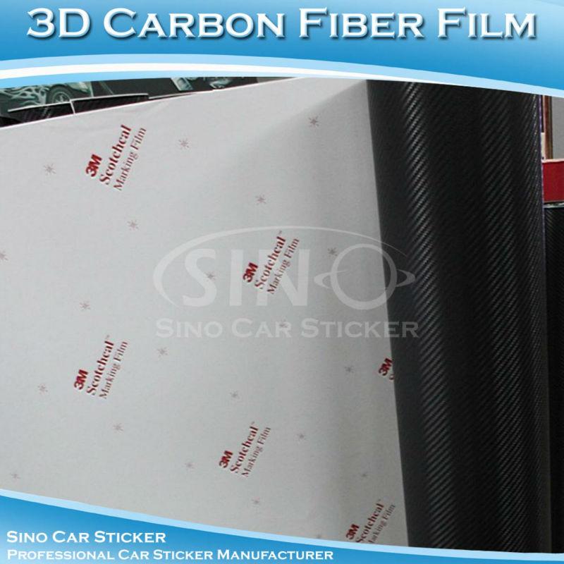 "12""x60"" 30x152CM Super Quality 3M Glue Black 3D Carbon Fiber Wrap Vinyl / 3M Carbon Fiber Vinyl(China (Mainland))"