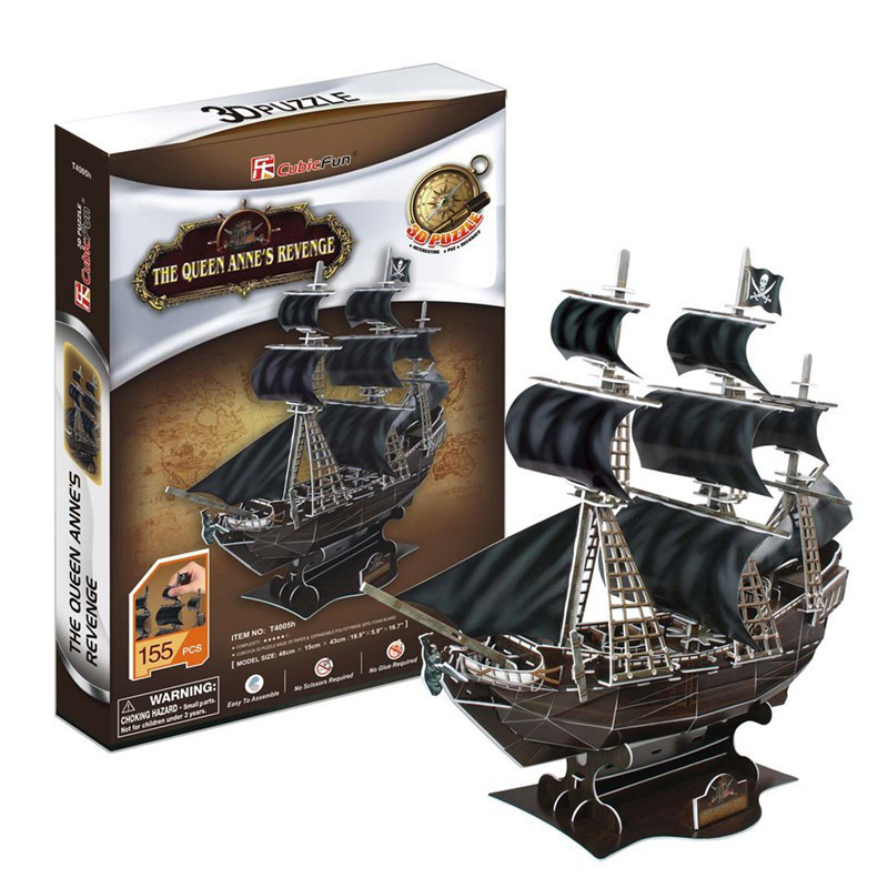 Free shipping Cubic Fun 3D Jigsaw Puzzle Queen anne's revenge 3D paper model Educational toys for kids children DIY puzzle(China (Mainland))