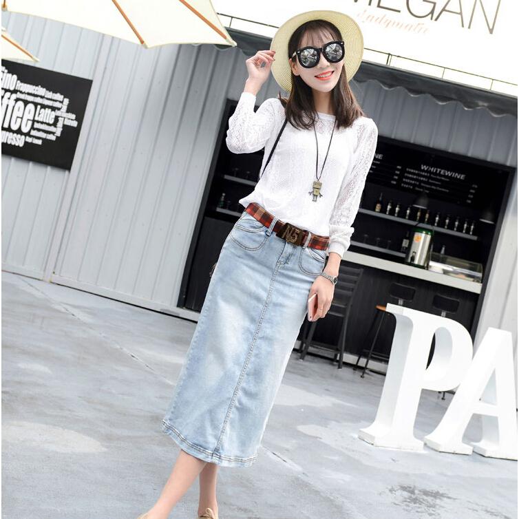 New Fashion 2016 Women Vintage Blue Denim A line Jeans font b Skirts b font Casual