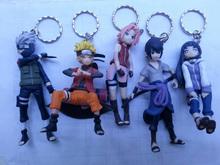 Free Shipping Anime Cartoon Naruto Kakashi Sasuke Sakura Hinata PVC Figure Key Chain Toys Dolls 5pcs/set