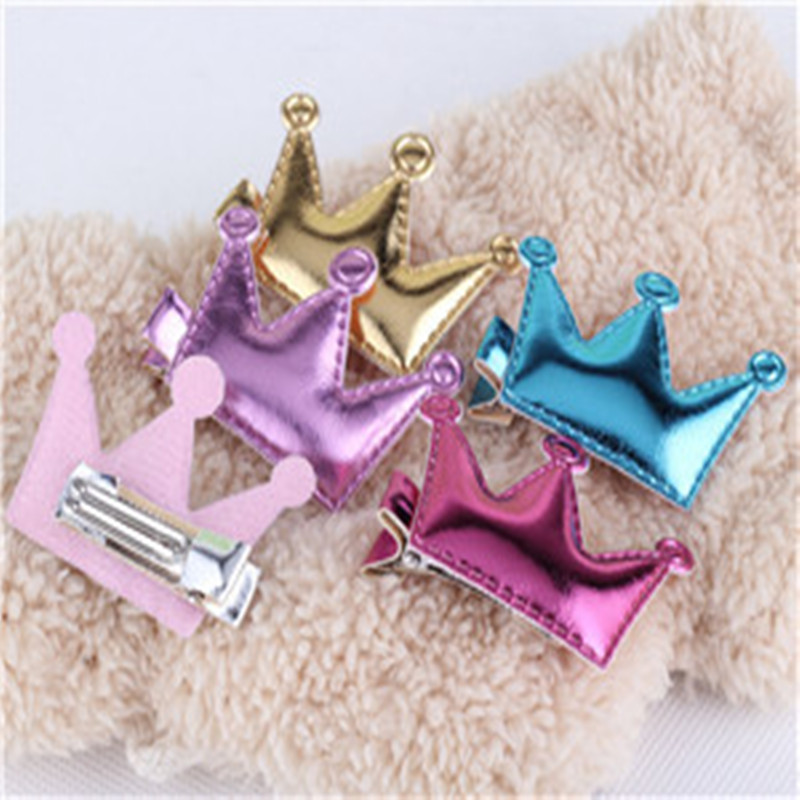 New Design Crown Hair Clip Kids Star Headdress PU Leather Baby Lovely Heart Head Barrettes Princess Accessories Child Hairpins(China (Mainland))