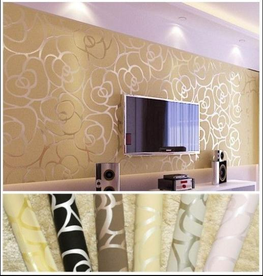 Background wall modern velvet wallpaper gold roses for for Gold wallpaper living room