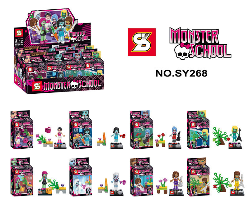 8pcs SY268 Monster School Girl Friends Minifigures Building Block bricks Sets Educational DIY baby Toys compatible with lego(China (Mainland))