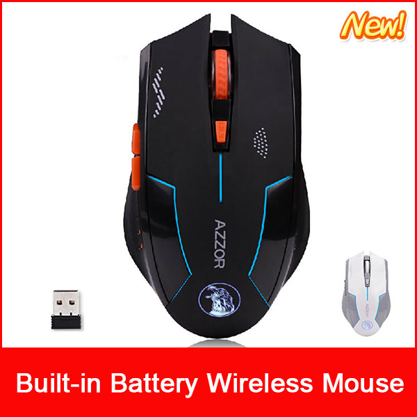 Azzor USB Laser Computer Gaming Wireless Mouse For PC Laptop Built-in Rechargeable Battery With Charging Cable(China (Mainland))