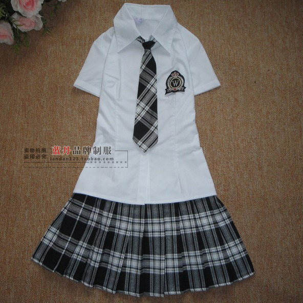 Our uniforms uniforms in summer uniforms students Japanese women suit students wear uniforms British style skirt(China (Mainland))