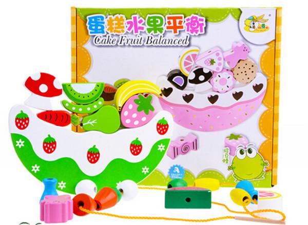 Fruit cake threading beads balancing buttressed strawberry wooden Educational Toys(China (Mainland))