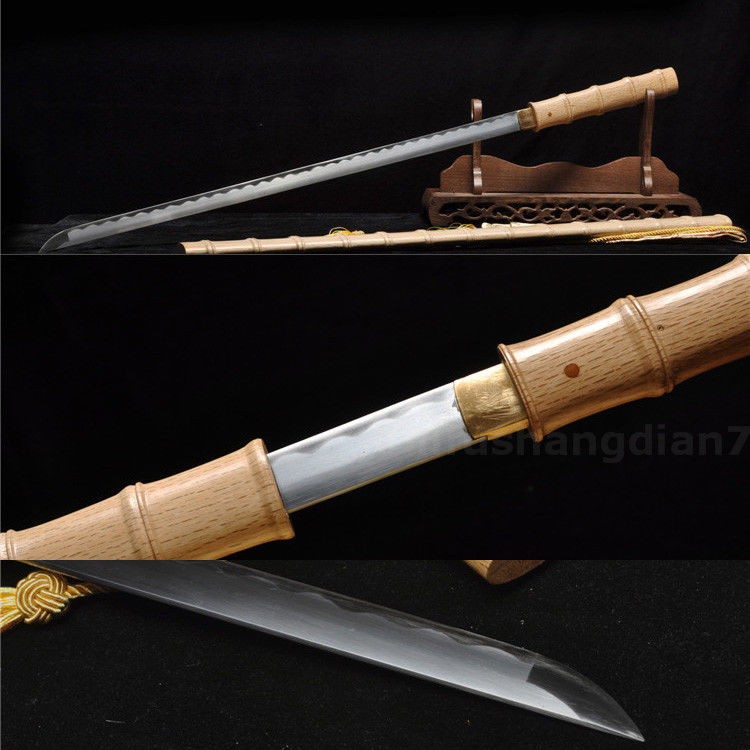 39'1060 CARBON STEEL BLADE BAMBOO WOOD SHAPE HAND MADE JAPANESE SWORD KATANA(China (Mainland))