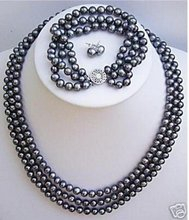 Black Freshwater TAHITIAN Pearl Necklace Bracelet Earrings AKOYA Free shipping(China (Mainland))