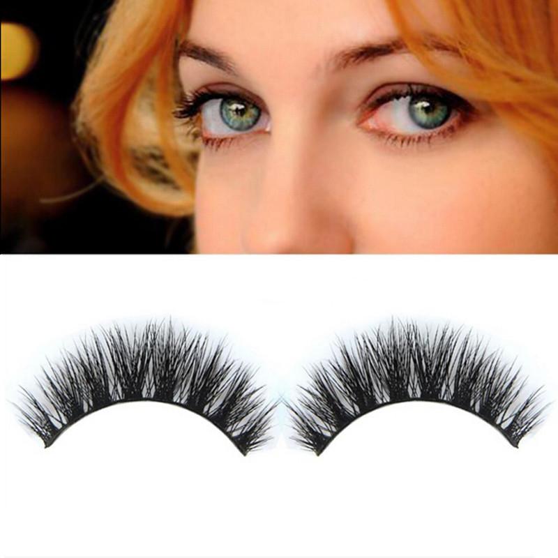 1 Pair Hig-Quality 3D Fashion Bushy Cross Natural False Eyelashes Mink Hair Handmade Long Eye Lashes NA887(China (Mainland))