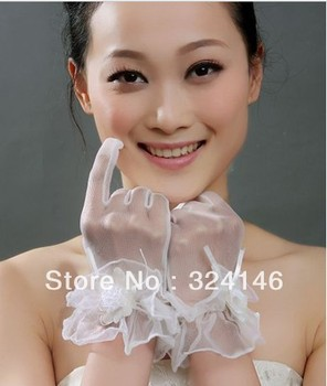 Free shipping  New design Bridal gloves Wedding Gloves fingerless white gloves mesh/ tulle lace gloves