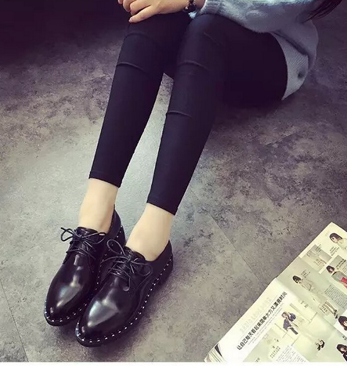 ซื้อ จัดส่งฟรี2016หนังสิทธิบัตรใหม่ฟอร์ดผู้หญิงรองเท้าแพลตฟอร์มลูกไม้ขึ้นแฟลตO Xfordsนิ้วเท้าชี้Femininoผู้หญิงแฟลต รองเท้า