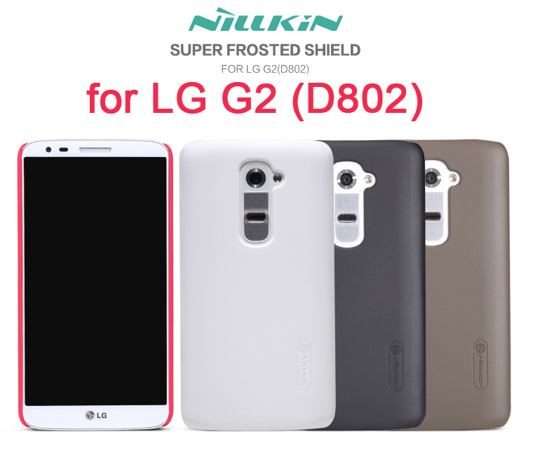 in Stock NILLKIN Super Frosted Shield Case for LG G2 (D802) with screen protector and retailed package(China (Mainland))
