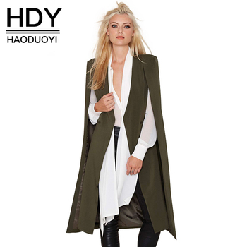 HDY Haoduoyi 2016 Autumn Fashion Women 3 Colors Open Stitch Cloak Trench Coats Outwears Poncho Coat
