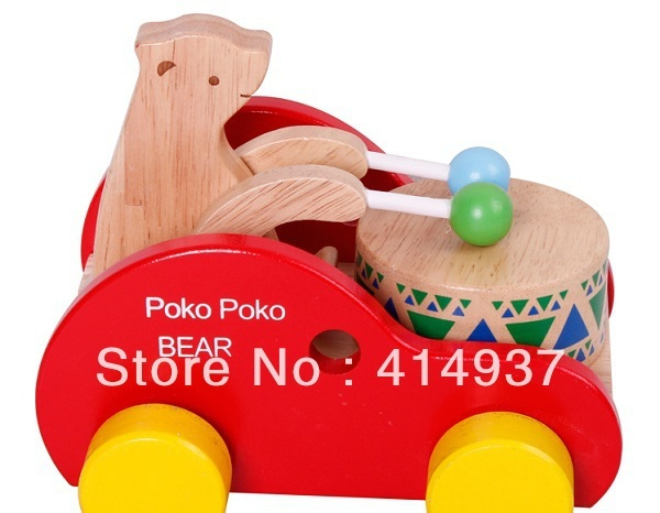 Excellent quality Exported toys Poko Poko Bear baby noise maker toys Wooden trailer toys