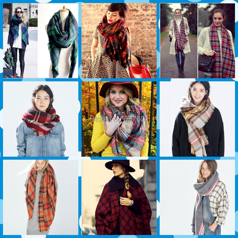 za Winter 2015 Tartan Scarf Desigual Plaid Scarf New Designer Unisex Acrylic Basic Shawls Women's Scarves Big Size 140 *140 CM(China (Mainland))