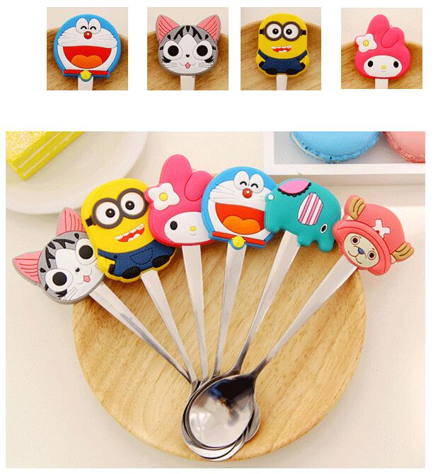 5P Cartoon Silicon Minions Kids Stainless Steel Tableware Spoon Kitchen Accessories Coffee spoon kindergarten Children tableware(China (Mainland))