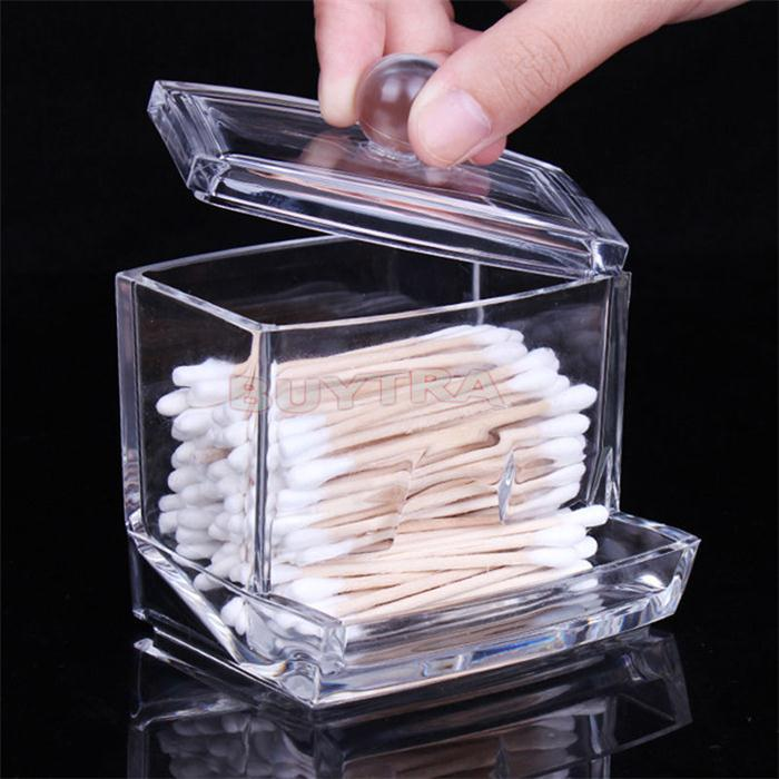 Clear Acrylic Cotton Swab Q-tip Storage Holder Box Cosmetic Makeup Case(China (Mainland))