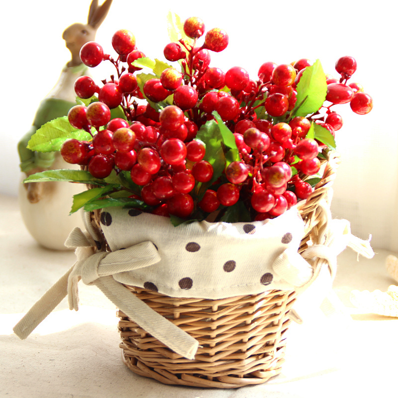 21 types artificial silk roses fruits flowers mini for Artificial cherries decoration