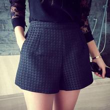 2016 New Fashion Europe and Joker dark Plaid shorts high-waisted shorts Korean Casual women Jeans Shorts crochet shorts(China (Mainland))