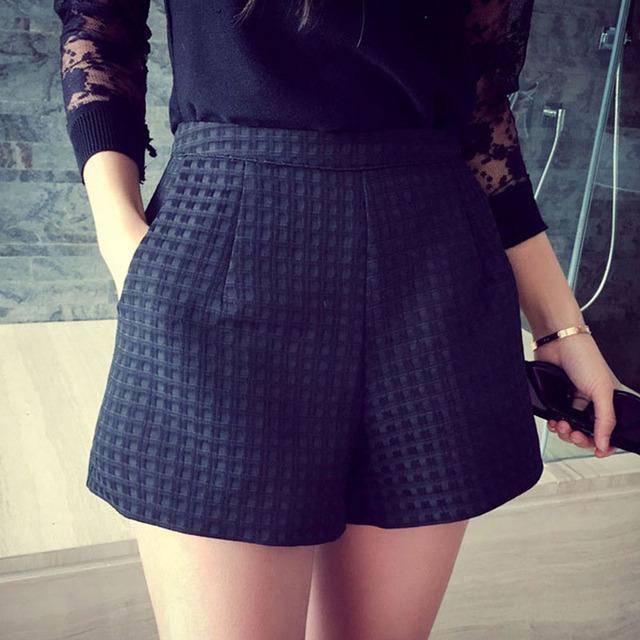 2016 Новая Мода В Европе и Джокер темно-Плед шорты высокой талией шорты Корейский Случайные женские Джинсы Шорты крючком шорты