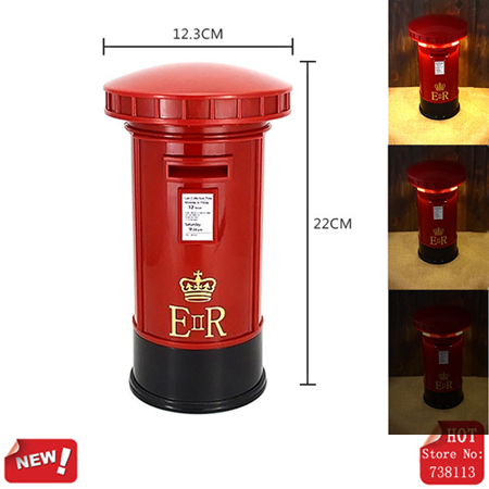 Retro Mailbox Charging Light Touch Table Lamp Dimmable Desk LED Brightness Night Lights Vintage Money Box Piggy Bank (3xAA) - Jie Wei Xin Technology Co., Ltd. store