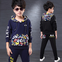 2016 Spring Autumn Kids Clothes Suits Long-Sleeve Hooded For Teenage Boys Girls Children Sports Clothing Sets T-Shirt+Pant D36