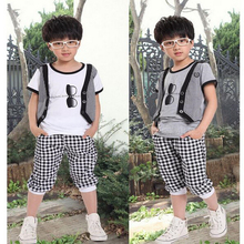 2016 Boy Cool Summer Sets Fashion Design Pattern Casual Cotton 2 Pieces Striped Sport T-Shirts Pants Kids Clothes Tracksuit