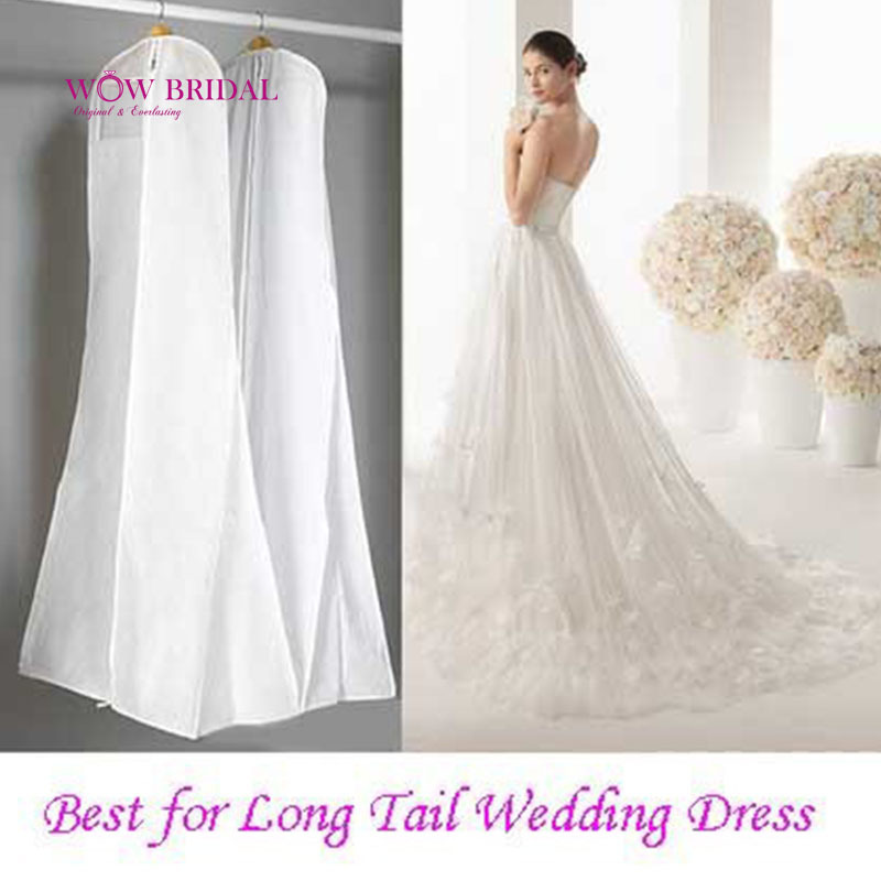 Fast Shipping 1.8M Storage Bag Garment Bags for Dresses Clothes Wedding Dress Dust Cover Home Storage Bag Space Saver(China (Mainland))