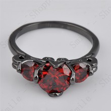 Size 6 7 8 9 10 Antique Jewelry Ruby Wedding Ring Red CZ Black Gold Filled