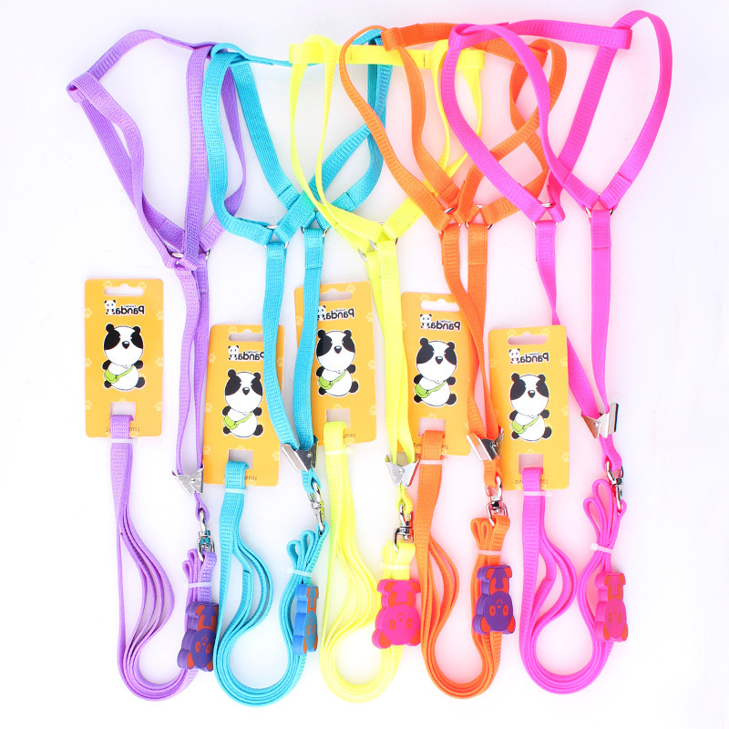 Gold Panda Panda Aberdeen imported knitting cute pet traction rope harness-type fluorescent colors(China (Mainland))