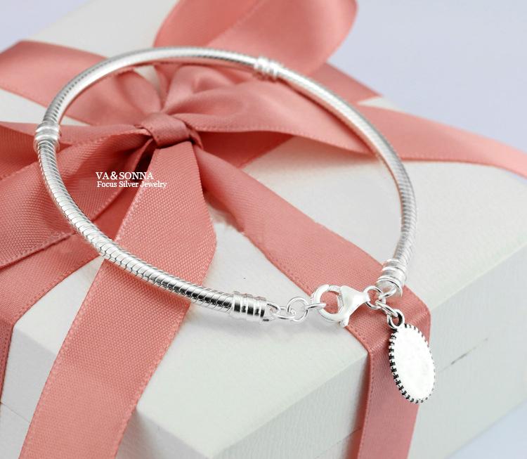 Real 100%VANORLAN 925 Sterling Silver snake chain bracelet with logo pulseira original Fits bracelet gold for women men(China (Mainland))