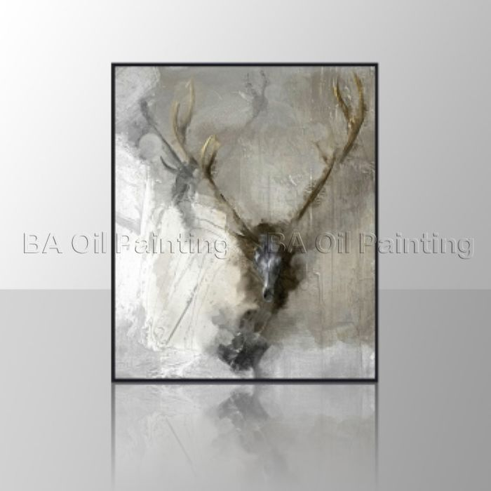 No frame Annual Excellent Product Unframed Canvas HandPainted Oil Painting Impressionist Deer In Fog Home Decor For Living Room(China (Mainland))