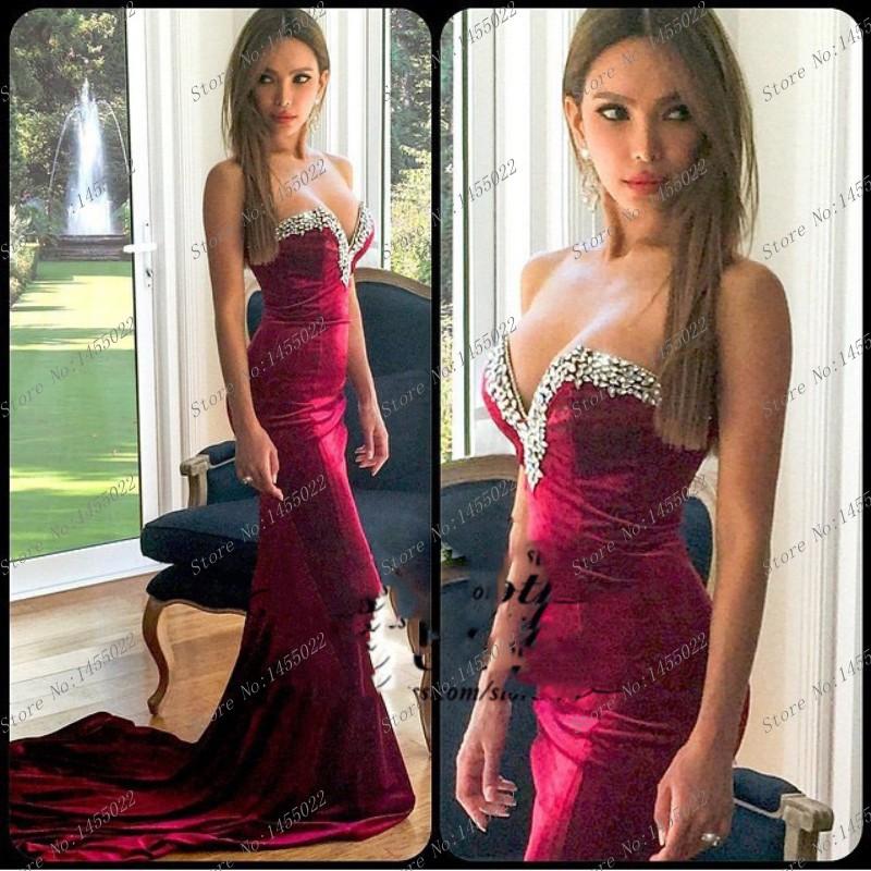 2015 New Arrival Mermaid Sweetheart Burgundy Prom Dress Beaded Crystal Court Train Velvet Evening Dresses Rhinestone Gowns(China (Mainland))