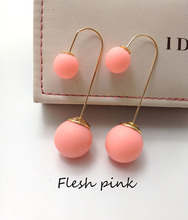 Fashion Brand Gold Earring Studs Rubber Runway Piercing Double Faced Pearl Stud Earrings For Women Colorful Beads Free Shipping(China (Mainland))