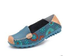 Zapatos planos de mujer 2018 nuevos zapatos de ballet de moda de verano con estampado de flores para mujer zapatos de cuero genuino zapatos planos de mujer(China)