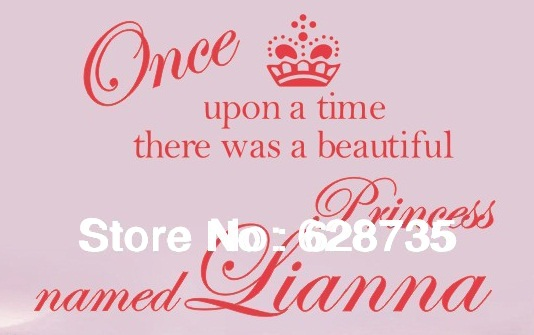 Personalized name custom name crown princess vinyl wall stickers, princess bedroom decoration for kids girl room free shipping(China (Mainland))