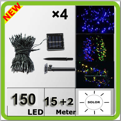 Wholesale solar power 150LED christmas light colorful Navidad lampara LED string 17 meters waterproof IP67 blue white yellow RGB(China (Mainland))