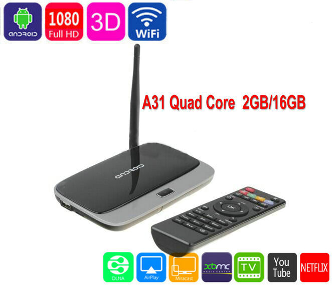 Фотография Free shipping Andriod 4.4 Smart TV Box Quad Core A31 2GB RAM 32GB ROM 4K WiFi Media Player