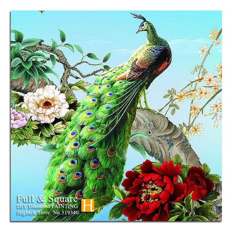 Hot Sale!! Peacock New 5D DIY Diamond Painting Embroidery Full Square Diamond Cross Stitch Rhinestone Mosaic Painting Gift(China (Mainland))