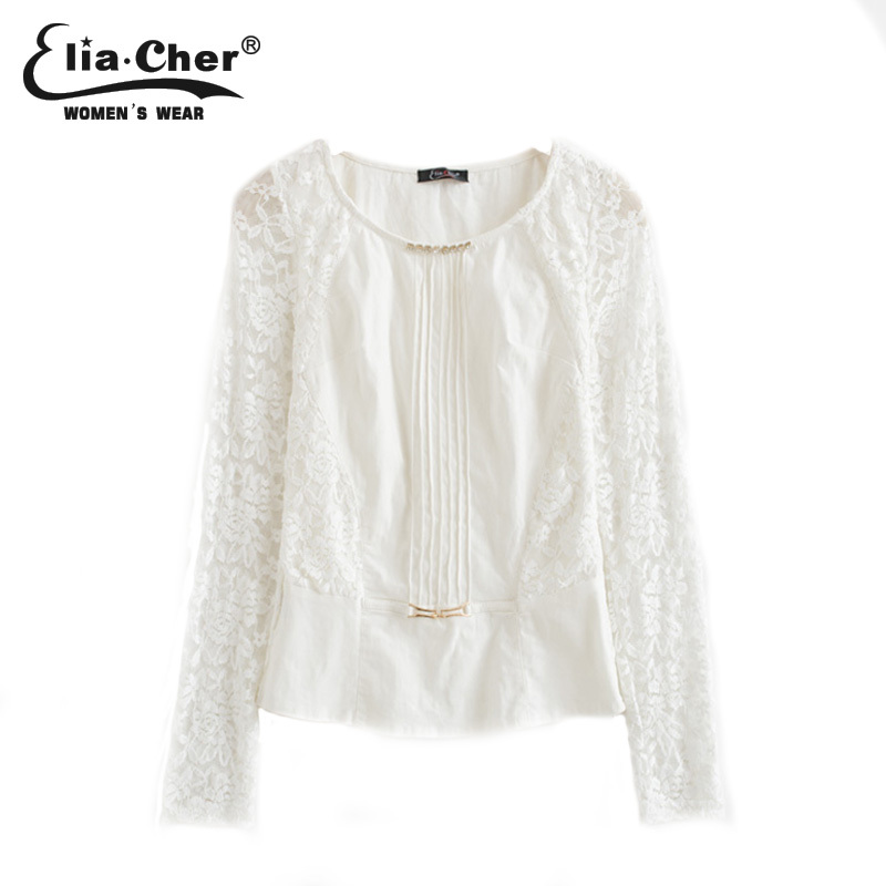 2015 causal white lace crochet women blouses chic elegant fashion sweet full knitted women tops shirts(China (Mainland))