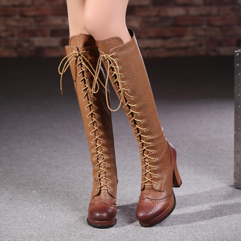 AA269 fashion high quality genuine leather women boots knee high women motorcycle boots high heels vintage platform winter boots<br><br>Aliexpress