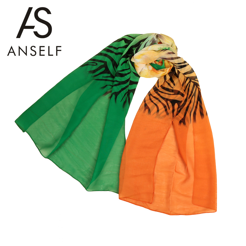 ANSELF 2016 Spring New Women Chiffon Silk Scarf Contrast Color Zebra Flower Print Colorful Long Shawl Pashmina(China (Mainland))