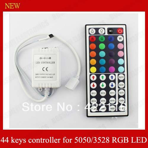 Free shipping,10 pcs 44keys IR Remote controller + recevier for 3528 5050 RGB SMD LED Strip DC 12V(China (Mainland))