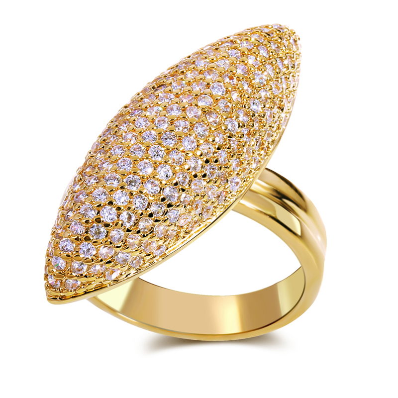 2014 new arrival luxury wedding elegant long evening top quality aaa zircon crystal 18k gold plated rings()