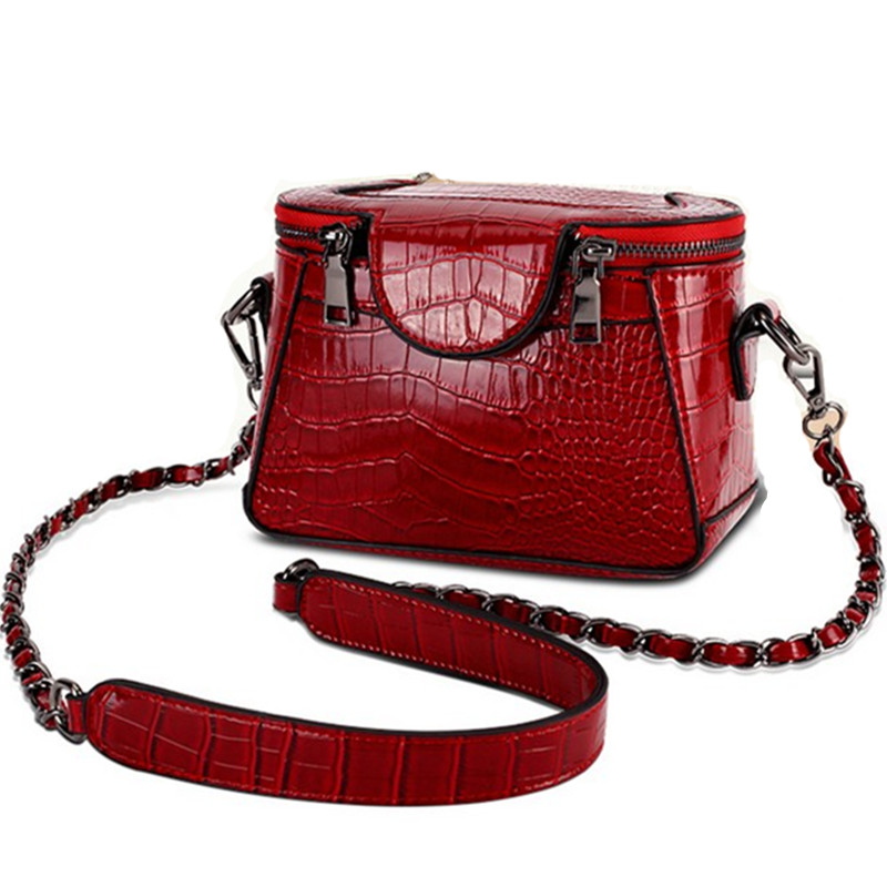 2016 New Brand Bucket Bags Fashion Vintage Women Crocodile Leather Bag Two Side Zipper Chains Crossbody Bags Ladies Shoulder bag(China (Mainland))