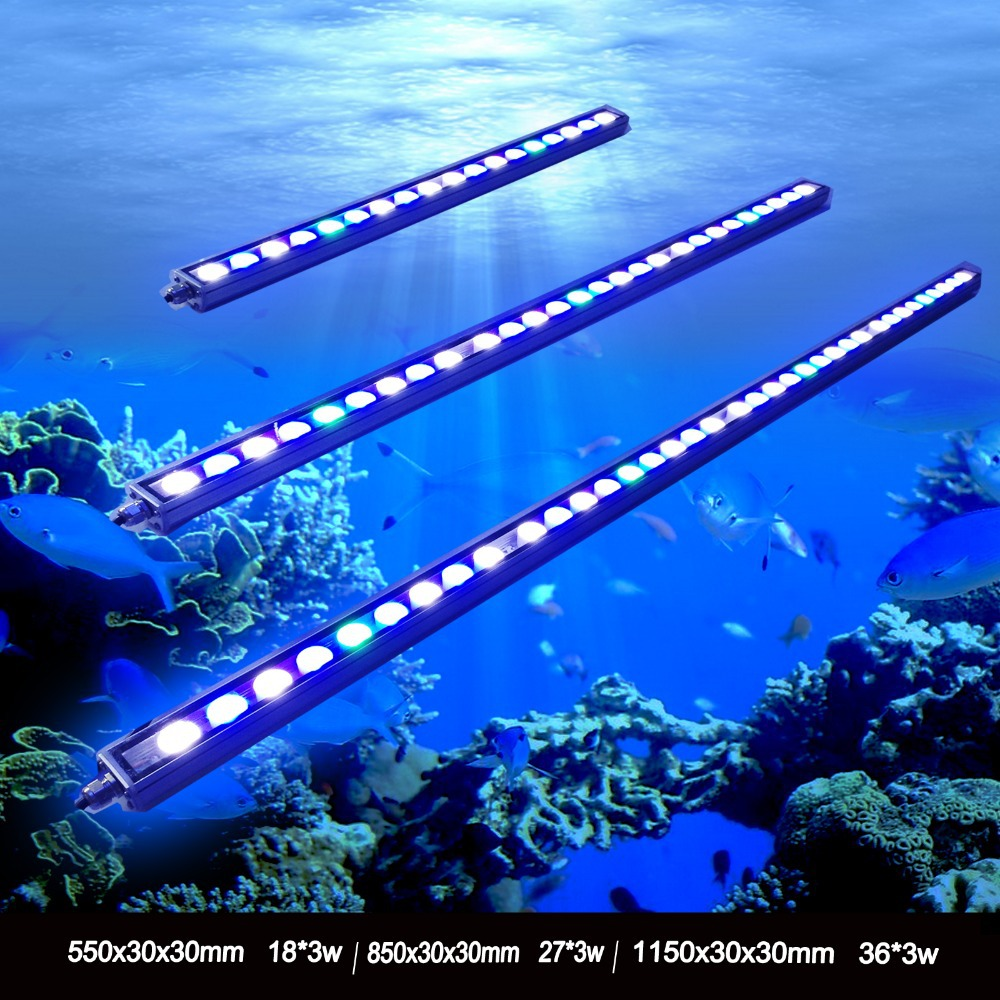 hot sale 54/81/108w Waterproof LED aquarium bar light for freshwater saltwater plant Blue White UV lamp for coral reef fish tank(China (Mainland))