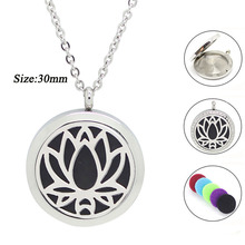 20mm 25mm 30mm magnetic diffuser pendant necklace 316 Stainless steel aromatherapy perfume locket necklace essential oil jewelry(China (Mainland))