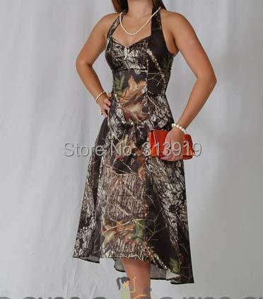 Buy free shipping sexy halter tea length for Mossy oak camo wedding dress