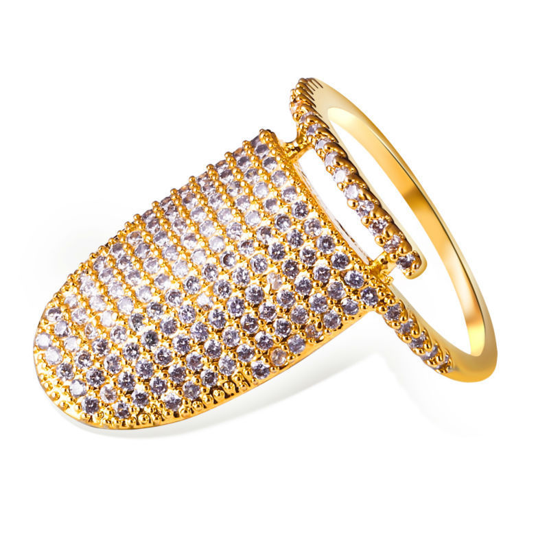 Specially Design Nail Women CZ Rings Top Quality AAA Cubic Zirconia Pave Setting Real 18K Gold Platinum Plated Office Lady Ring(China (Mainland))